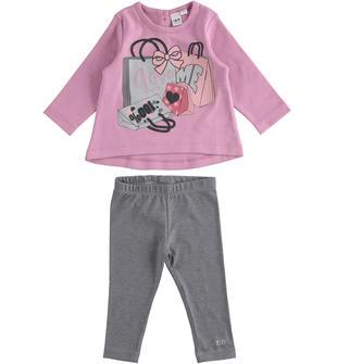 Completino iDO maxi maglia fashion e leggings ido ROSA-GRIGIO-8248