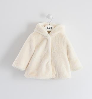 Elegante ecopellicia bambina con cappuccio fisso ido PANNA-0112
