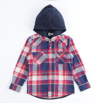 Camicia bambino in flanella di cotone tinto filo a quadri ido ROSSO-2253