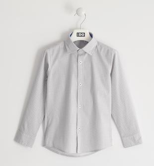 Elegante camicia bambino misto cotone stretch con pochette ido BIANCO-BLU-6LM8
