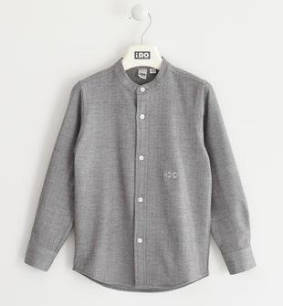 Camicia bambino a manica lunga in misto viscosa con collo coreana ido GRIGIO-0516