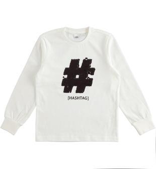 Maglietta in jersey 100% cotone con hashtag di paillettes ido PANNA-0112