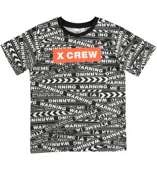 T-shirt 100% cotone stampa all over di scritte ido PANNA-NERO-6LL2