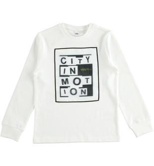 Simpatica maglietta 100% cotone con effetto sfocato ido PANNA-0112