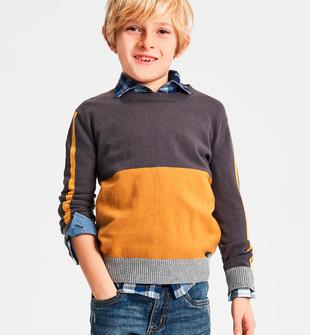 Tricot in filato cotone lana a blocchi di colore ido GRIGIO-0567