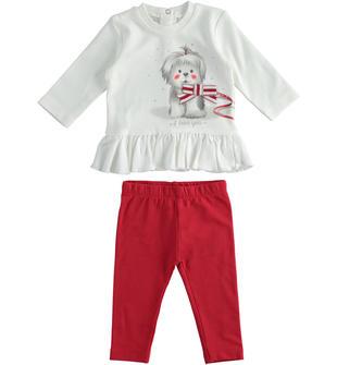 Completo due pezzi neonata con leggings ido PANNA-GRIGIO-8131