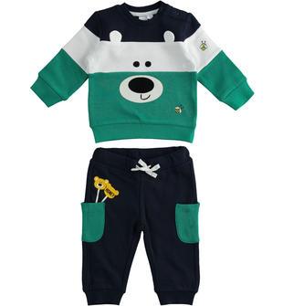 Simpatica tuta jogging invernale in misto cotone per neonato ido VERDE-BLU-8014