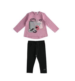 Completino iDO maxi maglia fashion e leggings ido ROSA-NERO-8213