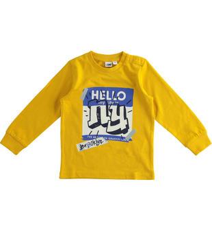 Maglietta in jersey cotone dedicata al mondo dello skate 100% cotone ido GIALLO-1615