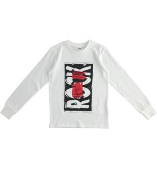 T-shirt in jersey caldo cotone stampa rock ido PANNA-0112
