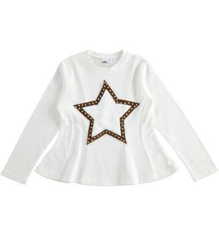 Maglietta bambina 100% cotone modellatura sfiancata ido PANNA-0112