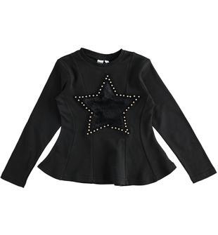 Maglietta bambina 100% cotone modellatura sfiancata ido NERO-0658
