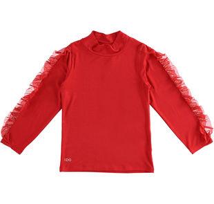 Maglietta bambina con collo lupetto e applicazione rouche sulle maniche ido ROSSO-2253