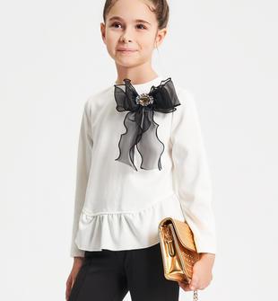 Raffinato ed elegante top manica lunga bambina in punto milano ido PANNA-0112