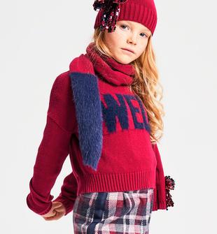 Maglia bambina a manica lunga in tricot misto cotone ido SANGRIA SCURO-2655