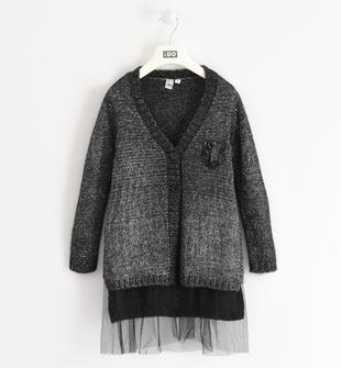 Cardigan lungo bambina in tricot in filato vanisè con lurex argento ido NERO-SILVER-8393