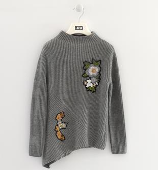 Maglia tricot bambina in filato misto cotone ido GRIGIO MELANGE-8970