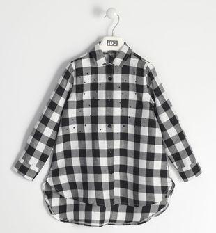 Camicia bambina in cotone tinto filo a quadri con lurex ido BIANCO-NERO-SILVER LUREX-8455