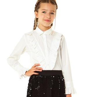 Camicia bambina in popeline stretch modello avvitato ido BIANCO-0113