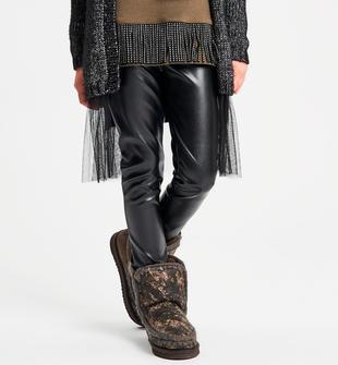 Pantalone bambina in ecopelle modello slim fit ido NERO-0658