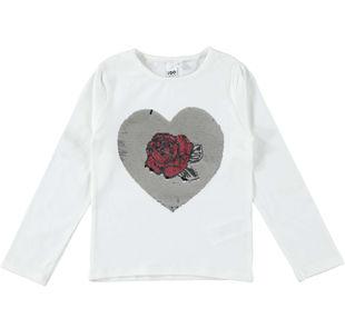 Maglietta bambina in cotone con cuore con pailettes reversibili ido PANNA-0112