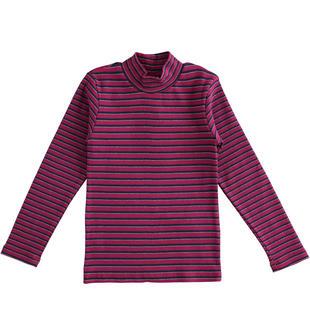Maglietta bambina modello lupetto in cotone tinto filo a righe ido BORDEAUX-BLU-8197