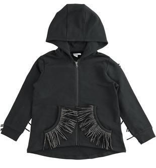 Full zip bambina in felpa di cotone stretch garzata cappuccio fisso ido NERO-0658
