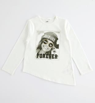 Particolare t-shirt asimmetrica con borchiette ido PANNA-0112