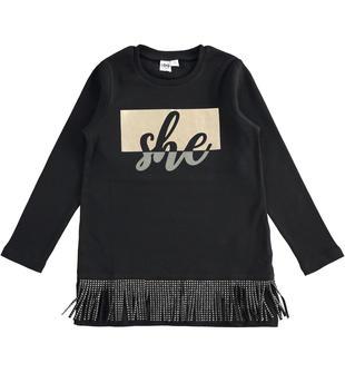 Maxi t-shirt 100% caldo cotone con frange ido NERO-0658