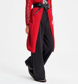 Pantalone bambina in punto milano modello palazzo ido NERO-0658
