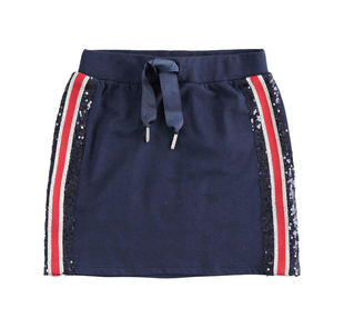 Gonna in felpa di cotone con bande laterali bicolore con pailettes ido NAVY-3854