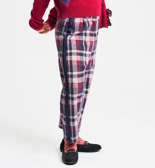 Pantalone bambina in maglia misto cotone jacquard motivo quadro ido SANGRIA SCURO-2655