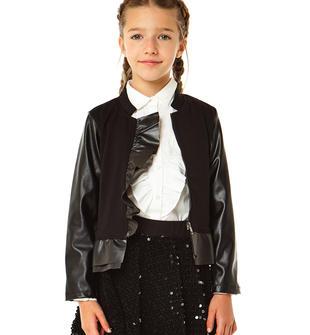 Giacca bambina in punto milano stretch ed ecopelle con tasche con zip e rouche ido NERO-0658