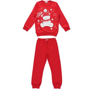 Pigiama con orsacchiotto Buon Natale 100% cotone per bambina  ido ARANCIO-2133