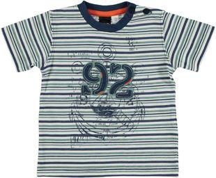 T-shirt 100% cotone a righe orizzontali  BIANCO-BLU - 6G13