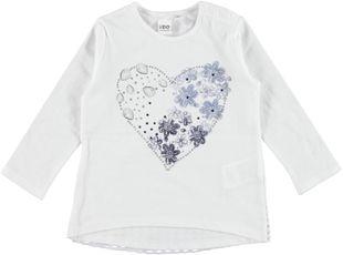 Maxi maglia 100% cotone con cuore di fiori e strass  BIANCO - 0113