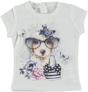 T-shirt in cotone elasticizzato con cagnolino  BIANCO - 0113