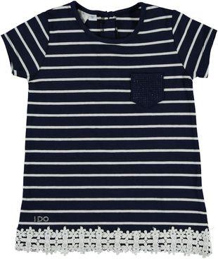 Elegante maxi t-shirt con taschino  NAVY - 3854