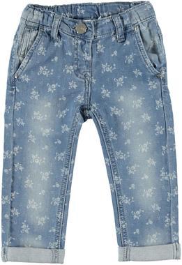 Pantalone in cotone effetto denim fantasia floreale ido AZZURRO-BIANCO-6E59