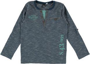 Maglietta rigata 100% cotone con finta apertura  NAVY - 3657