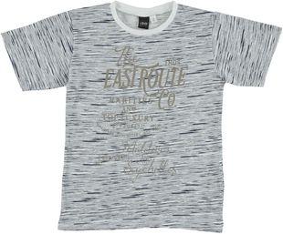 T-shirt effetto fiammature irregolari 100% cotone  BIANCO-BLU - 6H29