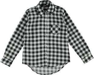 Maxi camicia in morbida tela 100% cotone stampata a quadretti ido BIANCO-NERO-6E48