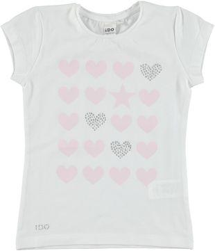 T-shirt in cotone elasticizzato con cuori  BIANCO - 0113