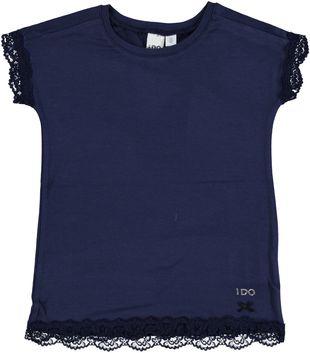 T-shirt in viscosa elasticizzata con pizzo ido NAVY - 3854