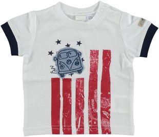 T-shirt 100% cotone stampa stelle e strisce ido BIANCO - 0113