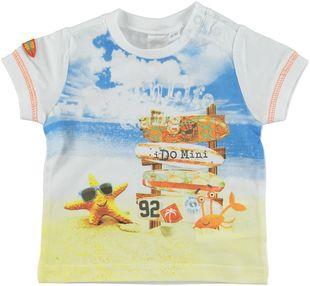 T-shirt 100% cotone con stampa spiaggia ido BIANCO - 0113