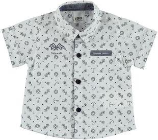 Camicia manica corta tema marina ido BIANCO-BLU-6F61
