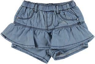 Gonna pantalone in denim leggero 100% cotone ido BLU CHIARO LAVATO-7310