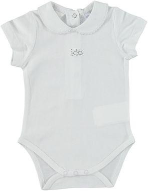 Body manica corta a righe e piccolo logo di strass ido BIANCO - 0113