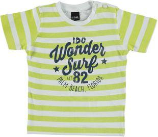 Colorata t-shirt 100% cotone a righe con scritte ido BIANCO-GIALLO - 6G69